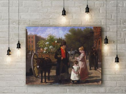 Jacques-Laurent Agasse: The Flower Seller in London. Fine Art Canvas.